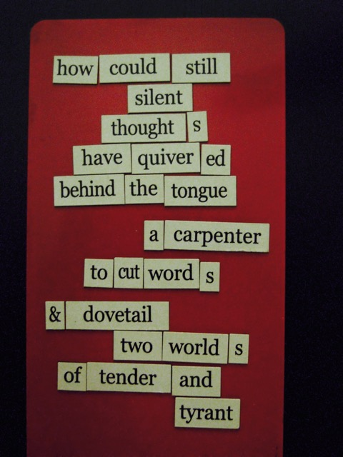 magnetic poem thought wood